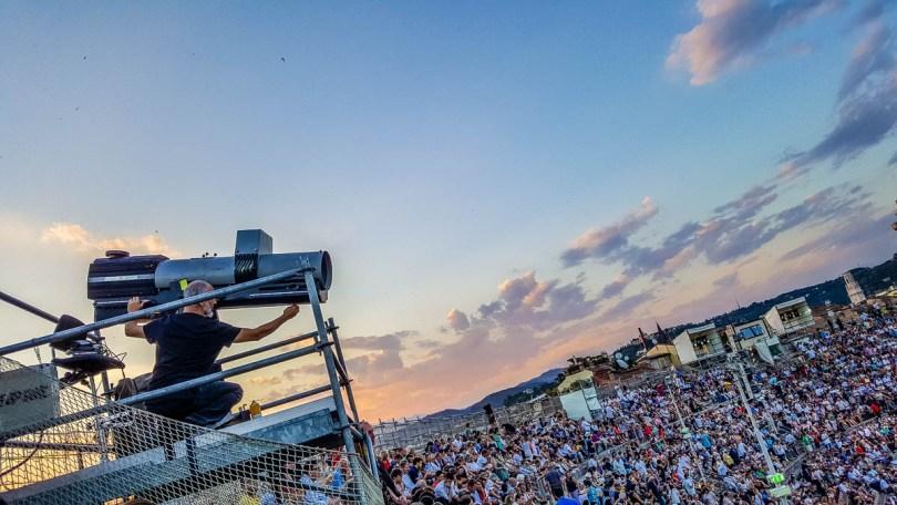 The huge spotlights - Arena di Verona- Verona Opera Festival - Veneto, Italy - www.rossiwrites.com