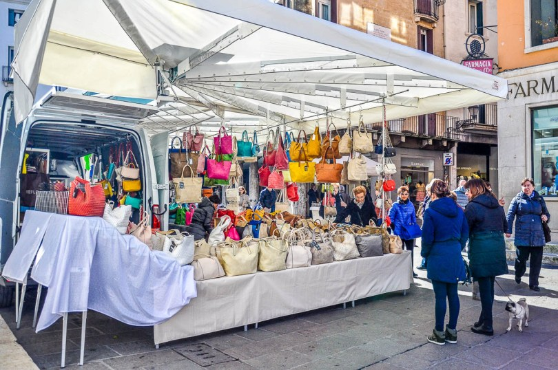 A market stall selling bags - Vicenza, Italy - www.rossiwrites.com