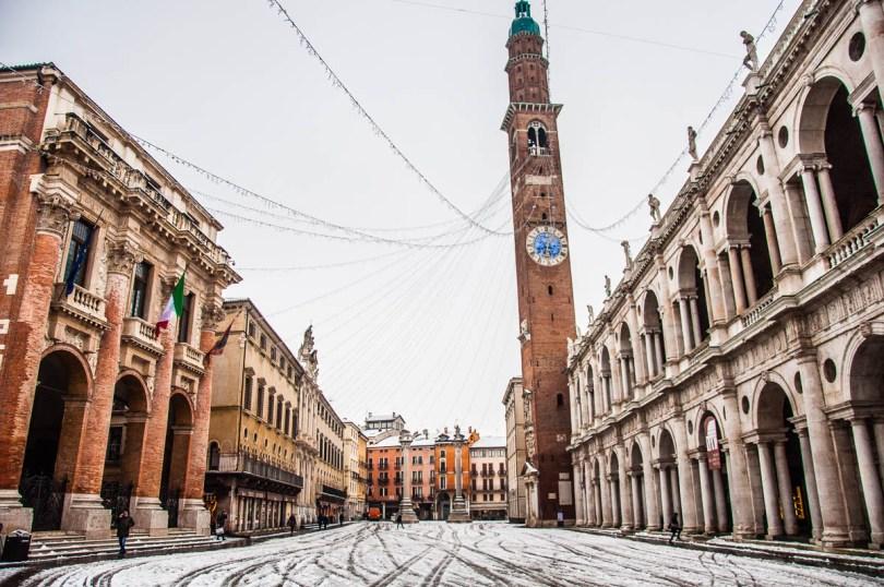 Piazza dei Signori covered in snow - Vicenza, Italy - www.rossiwrites.com