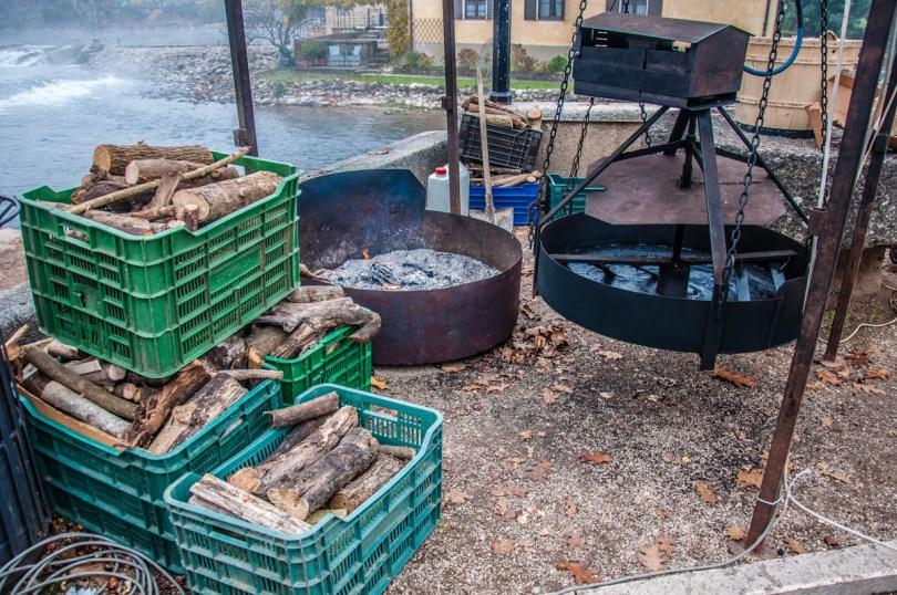 Chestnut roaster with crates with wood - Borghetto sul Mincio, Veneto, Italy - www.rossiwrites.com