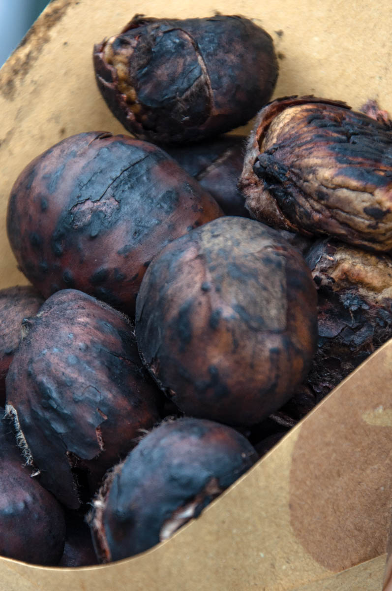 Roasted chestnuts in a paper cone - Borghetto sul Mincio, Veneto, Italy - www.rossiwrites.com