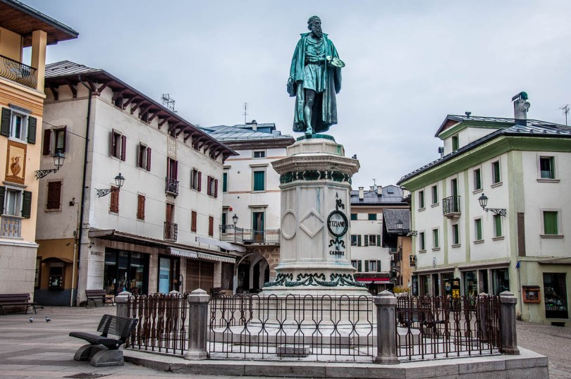 The central square with Titian's statue - Pieve di Cadore - Province of Belluno, Veneto, Italy - www.rossiwrites.com