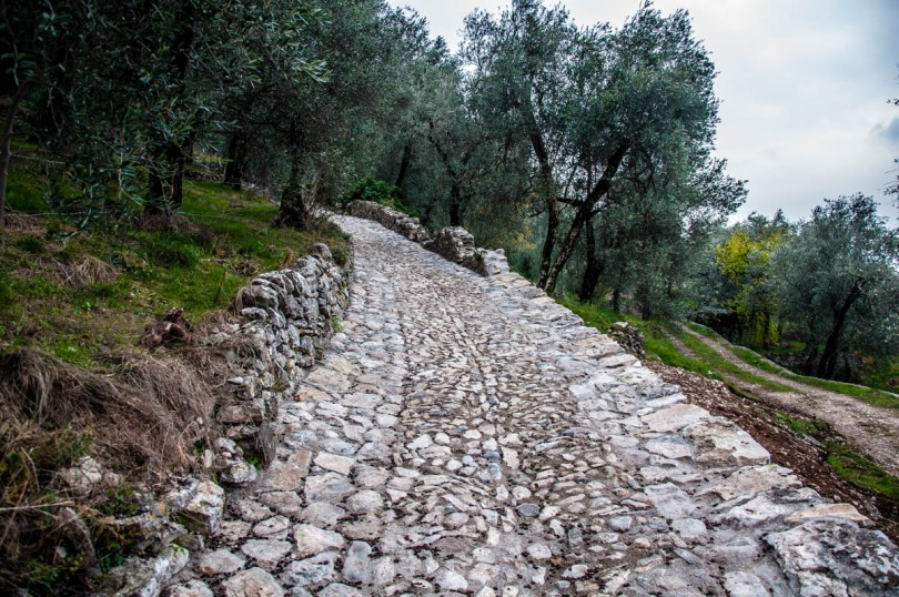 Stone-paved mule tracks - Campo di Brenzone, Lake Garda, Italy - www.rossiwrites.