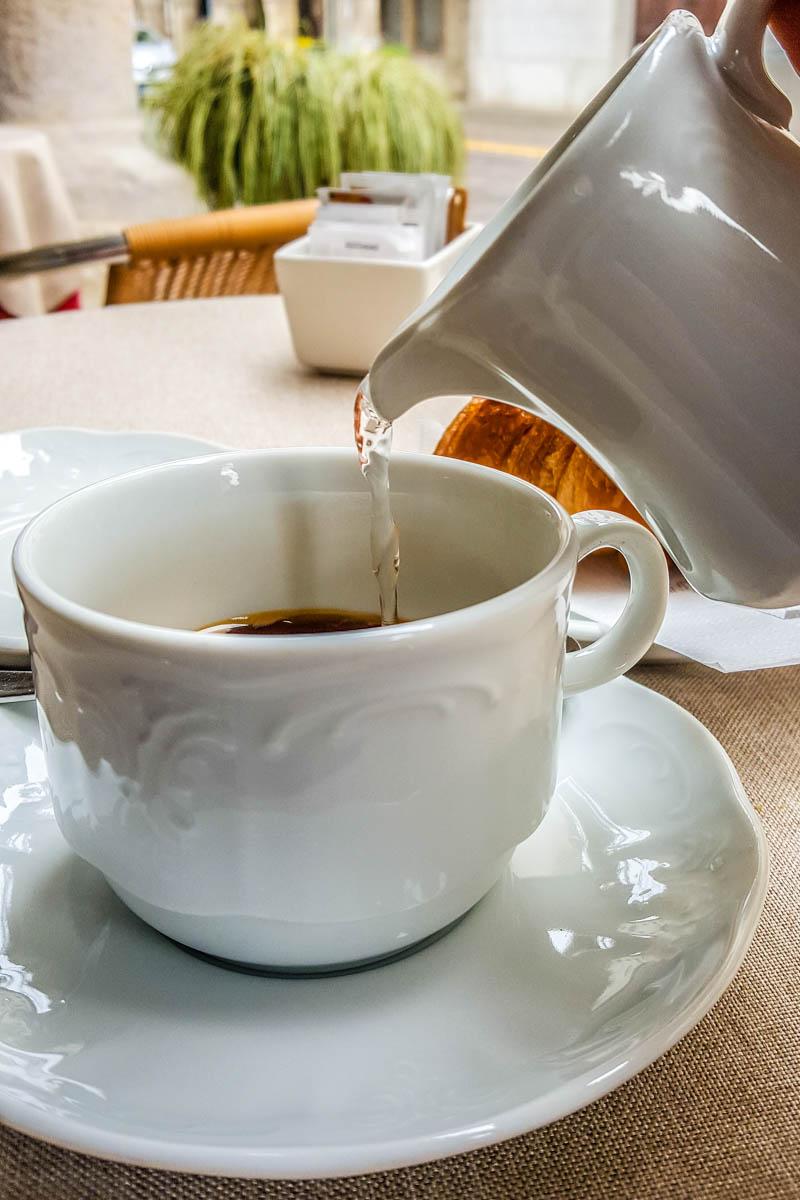 Caffe Americano with brioche - Vicenza, Italy - www.rossiwrites.com