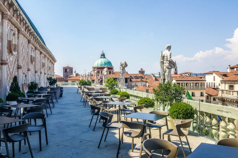 Caffe on the terrace, Basilica Palladiana - Vicenza, Italy - rossiwrites.com