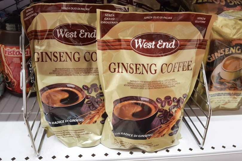 Packs of coffee with ginseng root extract sold in an Italian supermarket - Vicenza, Italy - rossiwrites.com