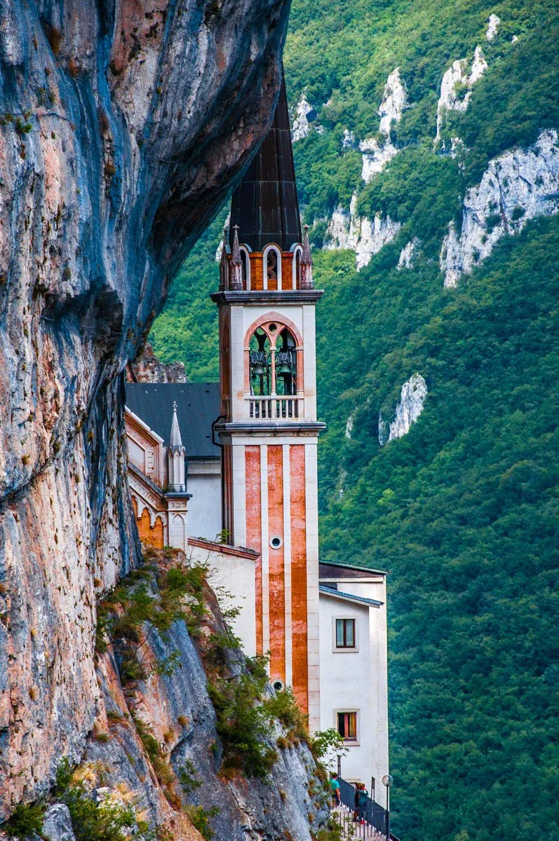 The bell tower - Sanctuary of Madonna della Corona - Spiazzi, Veneto, Italy - www.rossiwrites.com