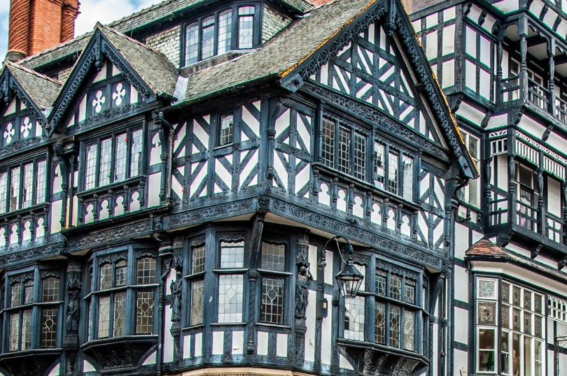 Close-up of Mock Tudor facades- Chester, Cheshire, England - rossiwrites.com