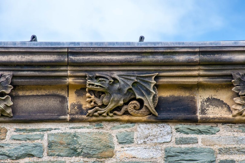 Close-up of the stone ornamentation of the Church of St. Cybi - Holyhead - Isle of Anglesea - Wales, UK - rossiwrites.com