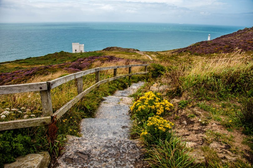 The steps leading to Ellin's Tower Visitor Centre - Holyhead - Isle of Anglesea - Wales, UK - rossiwrites.com