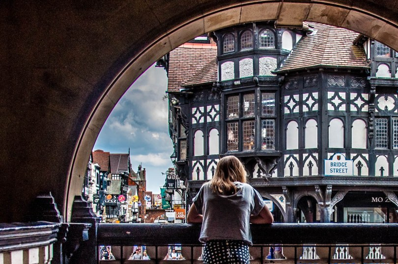 View from the Rows onto the street below - Chester, Cheshire, England - rossiwrites.com