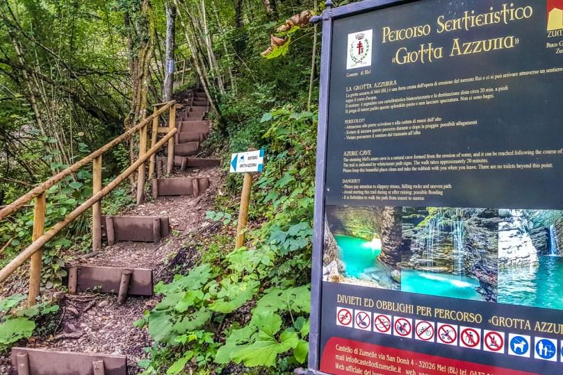 Informational board - Grotta Azzurra - Hiking in the Dolomites - Veneto, Italy - rossiwrites.com