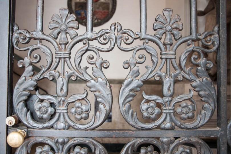 Intricate wrought-iron gates - The 19-th century Palazzo della Loggia - Noale, Veneto, Italy - rossiwrites.com