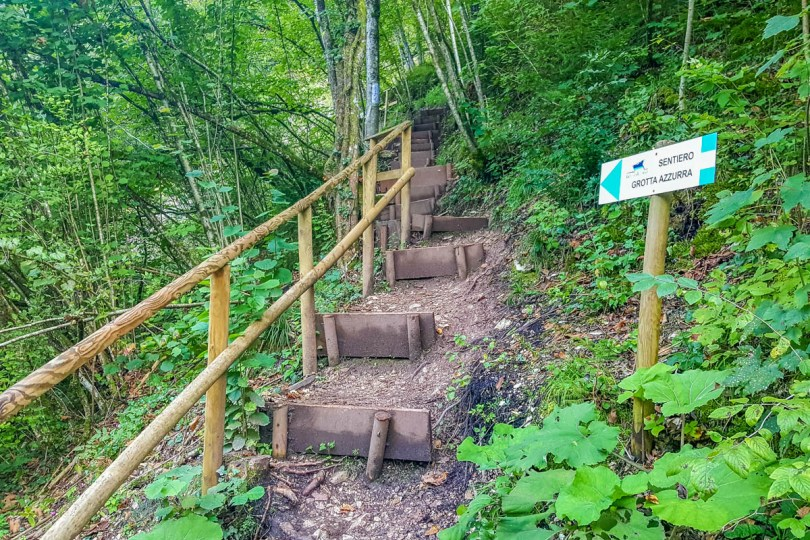 Up the steps and through the forest - Grotta Azzurra - Hiking in the Dolomites - Veneto, Italy - rossiwrites.com