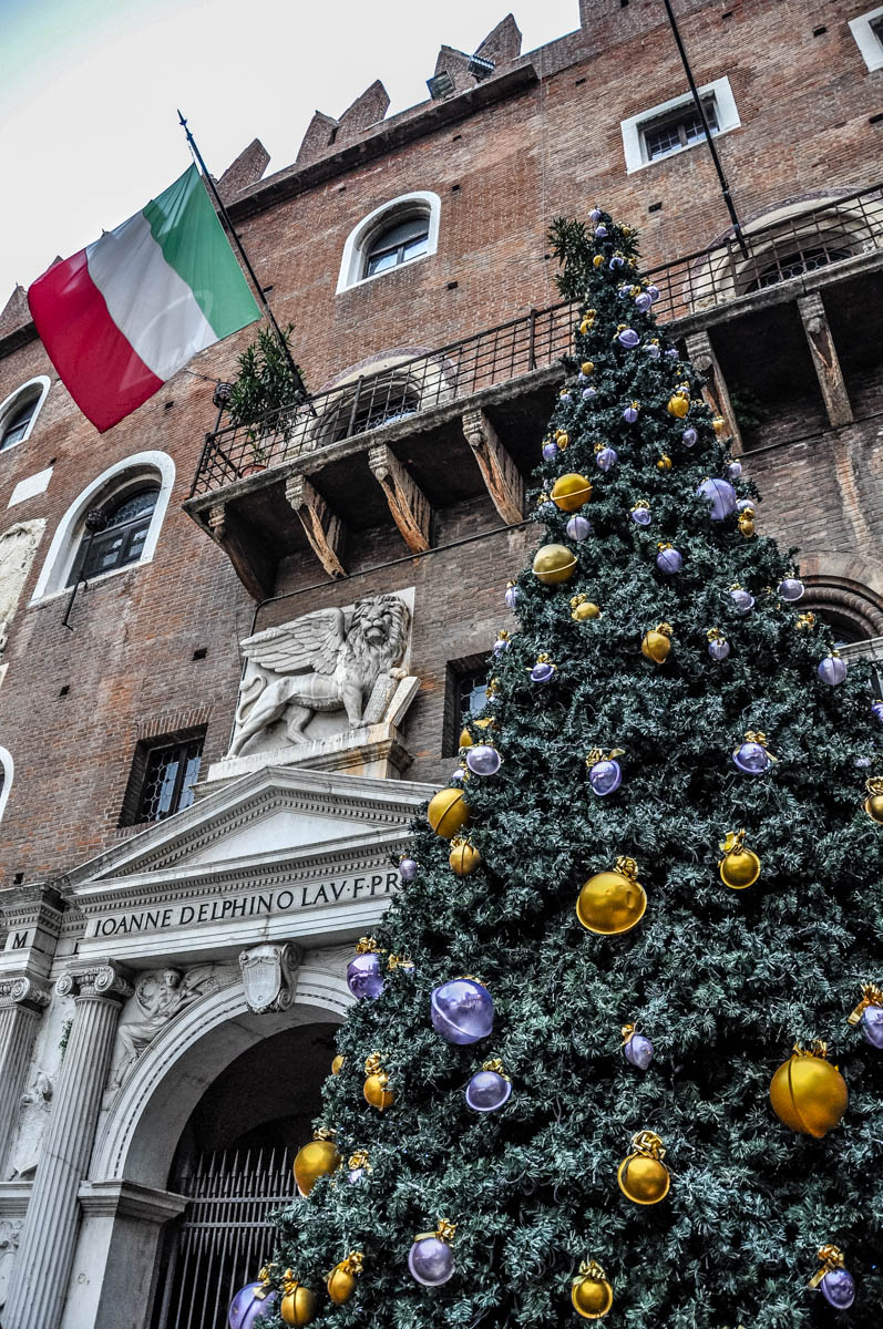 Palazzi Scaligeri with a Christmas tree and the Italian flag - Christmas Market - Verona, Italy - rossiwrites.com