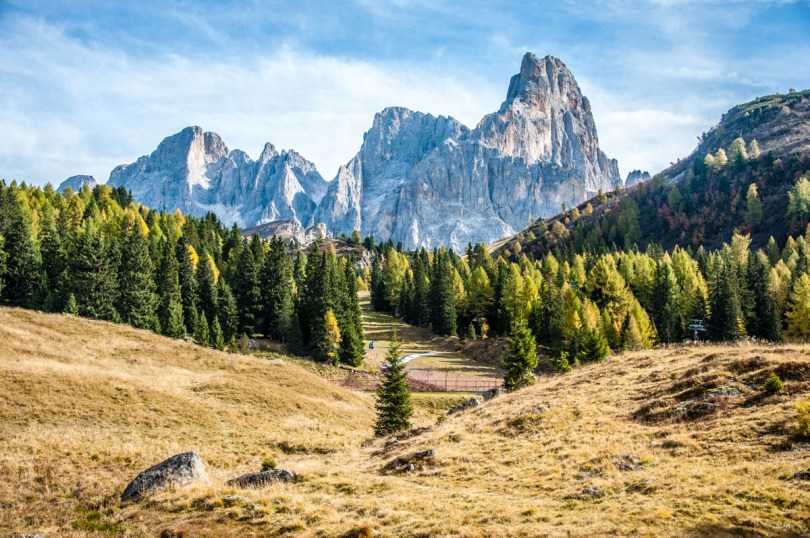 View of Pale di San Martino with Paneveggio - The Violins' Forest - Dolomites, Trentino, Italy - rossiwrites.com