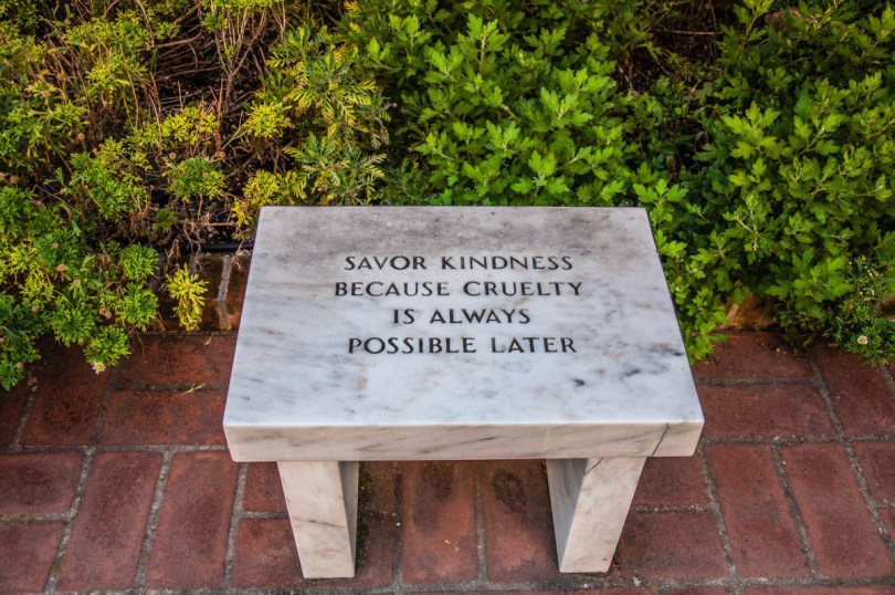 A bench in Peggy Guggenheim Museum in Venice - Veneto, Italy - rossiwrites.com