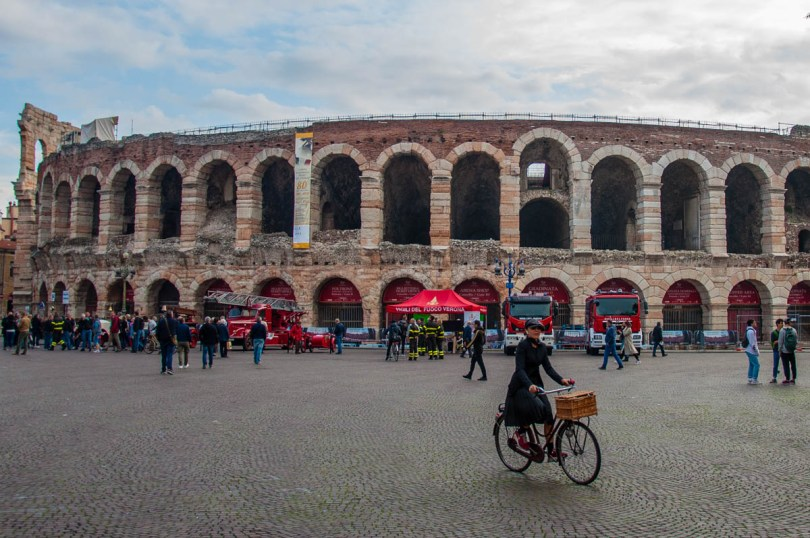 Arena di Verona with an exhibition of historic fire engines - Verona, Veneto, Italy - rossiwrites.com