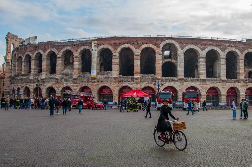 Arena di Verona with an exhibition of historic fire engines - Verona, Veneto, Italy - rossiwrites.com