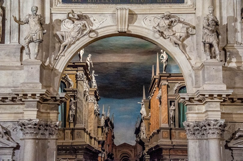 Close-up of the historical stage set of Teatro Olimpico - Vicenza, Italy - rossiwrites.com