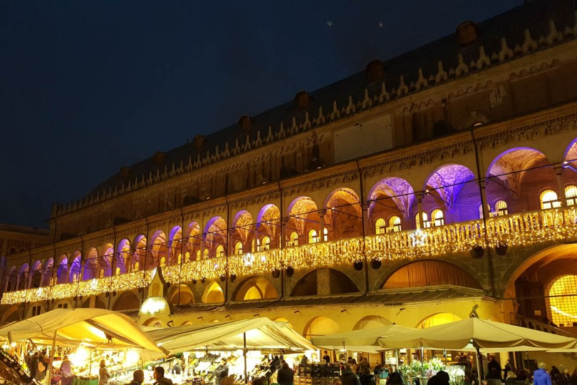 Palazzo della Ragione decorated with Christmas lights - Padua, Veneto, Italy - rossiwrites.com