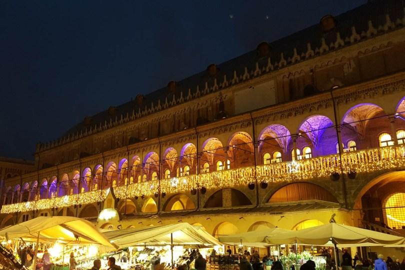 Palazzo della Ragione decorated with Christmas lights - Padua, Veneto, Italy - rossiwrites.com