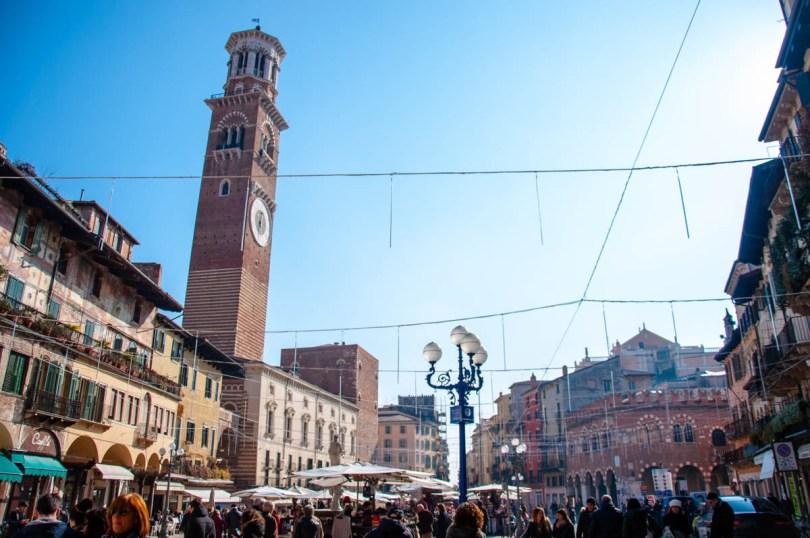 View of Piazza delle Erbe with the Lamberti Tower - Verona, Veneto, Italy - rossiwrites.com