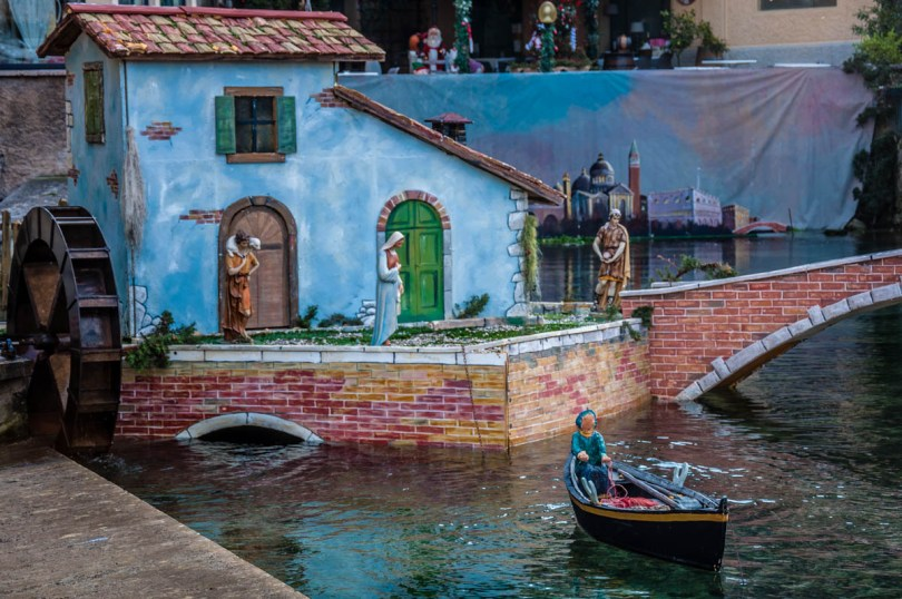 A close-up of the Nativity Scene over the river Aril - Cassone, Lake Garda, Veneto, Italy - rossiwrites.com