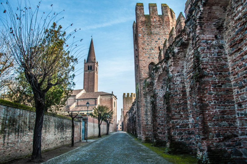 Walking by the town's medieval defensive wall - Montagnana, Veneto, Italy - rossiwrites.com