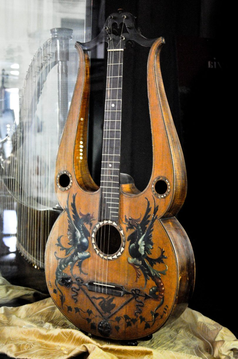 Guitar lyra from 1815 - Museum of Music, Venice, Italy - rossiwrites.com