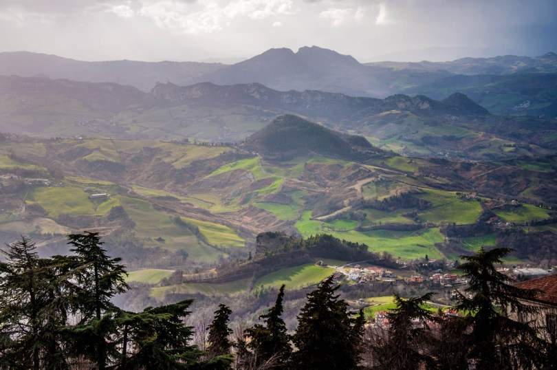 The green hills seen from the historic centre of the City of San Marino - San Marino - rossiwrites.com
