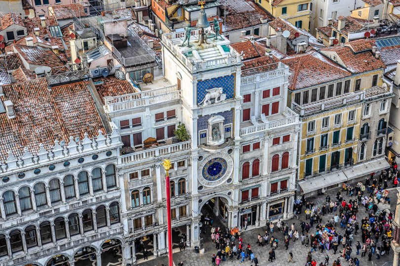 Birds'eye view of St. Mark's Clock Tower from the top of St. Mark's Campanile - Venice, Italy - rossiwrites.com