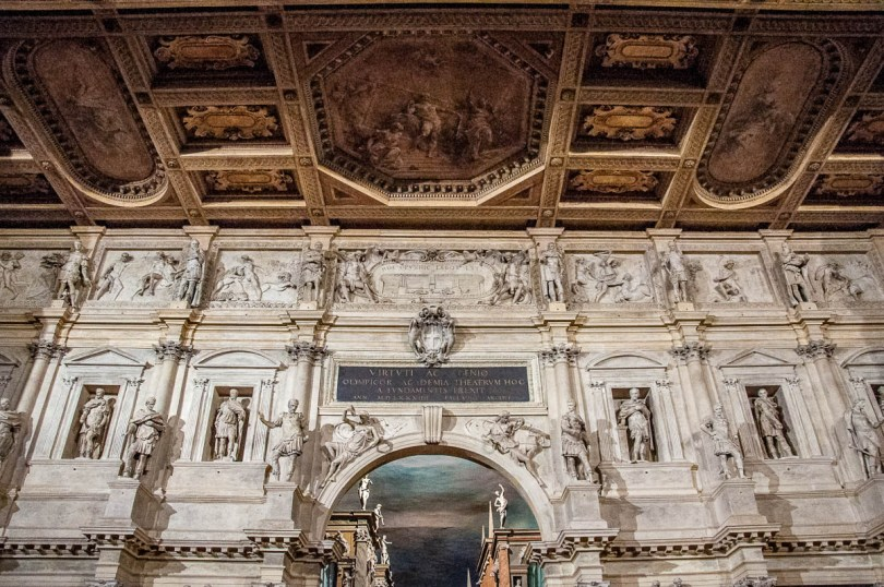 Close-up of the historical stage set of the Teatro Olimpico - Vicenza, Italy - rossiwrites.com