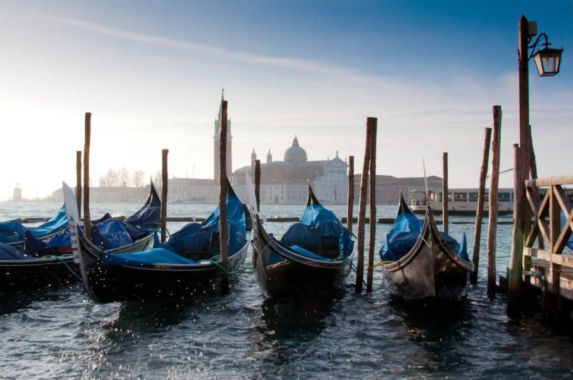 Gondolas and San Giorgio Maggiore - Venice, Veneto, Italy - rossiwrites.com