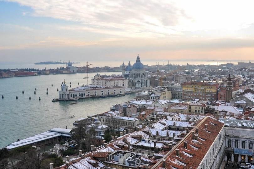 Punta della Dogana and St. Mark's Square covered in snow - Venice, Veneto, Italy - rossiwrites.com