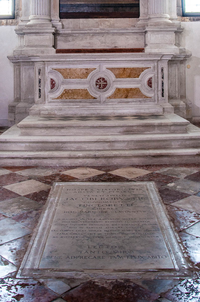 Tintoretto's tomb in the Church of Madonna dell'Orto - Venice, Italy - rossiwrites.com