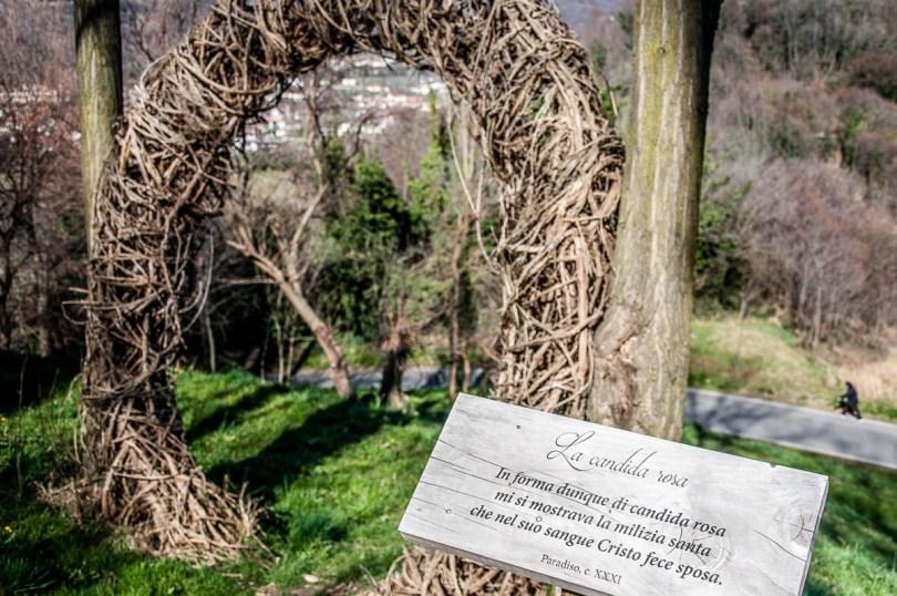 An installation referencing a quote from Dante's Paradise - Dante's Hill - Col Bastia - Romano d'Ezzelino, Veneto, Italy - rossiwrites.com