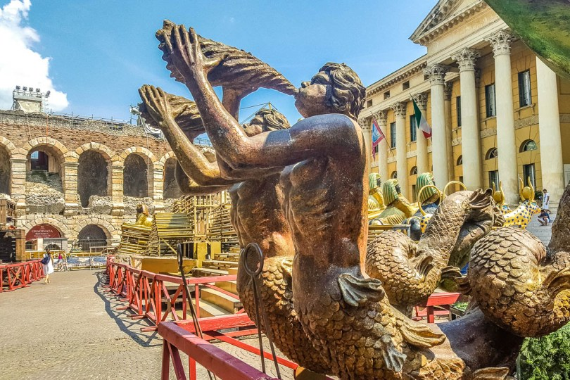 Piazza Bra with Arena di Verona and stagesets for the Verona Opera Festival - Verona, Italy - rossiwrites.com