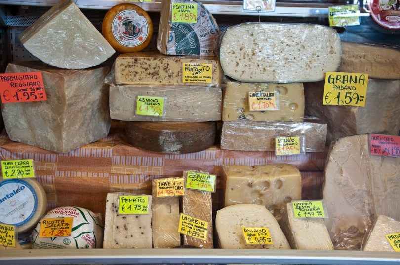 A shop window displaying a variety of cheeses - Padua, Veneto, Italy - rossiwrites.com