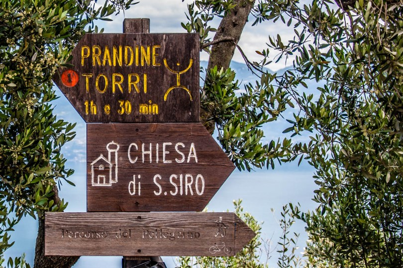 Signs pointing to nearby places to visit - Crero, Lake Garda, Veneto, Italy - rossiwrites.com