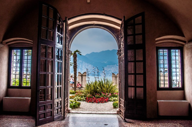 View of the garden of the Captain's Palace - Malcesine, Veneto, Italy - rossiwrites.com