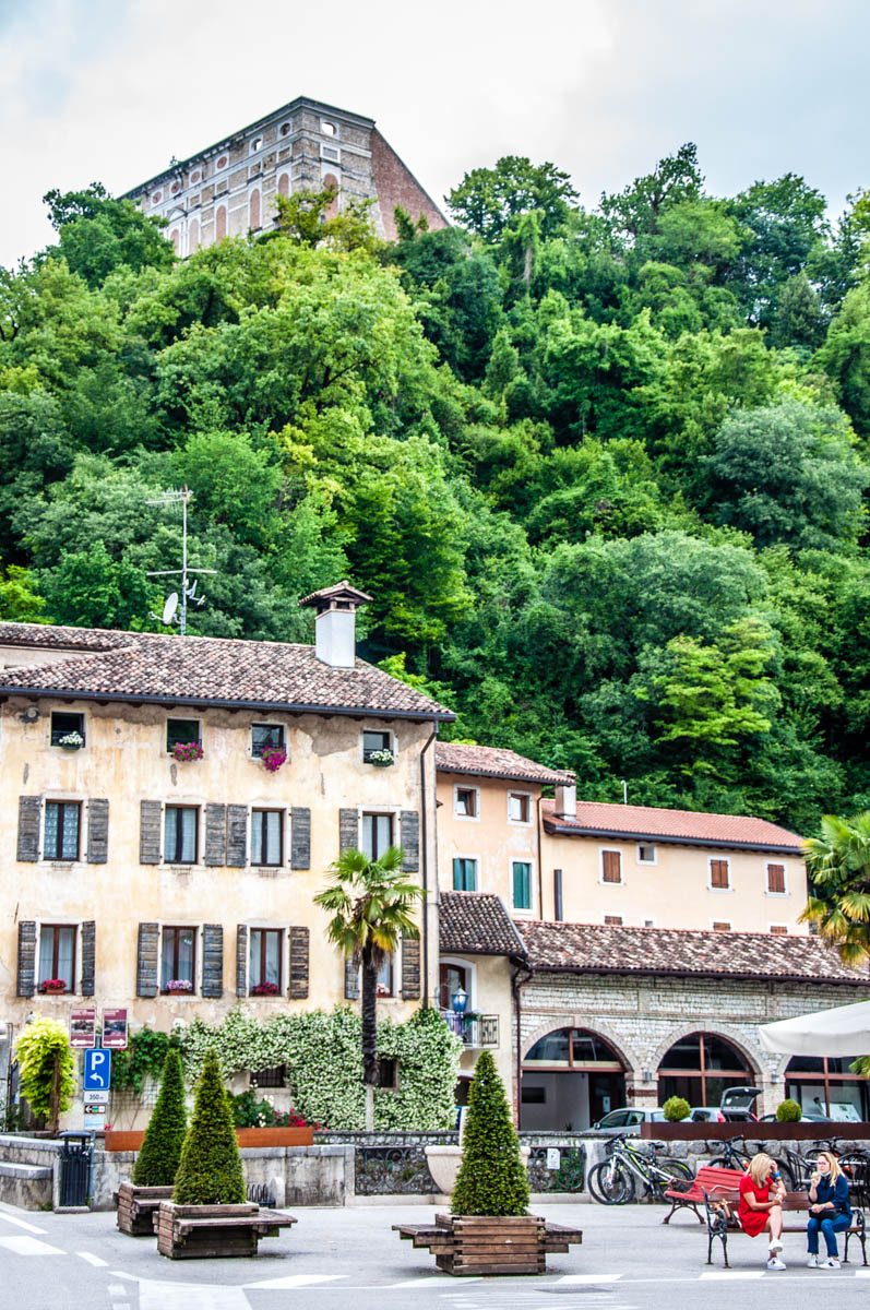 View of the village's historic part with the hilltop castle - Polcenigo, Friuli Venezia Giulia, Italy - rossiwrites.com