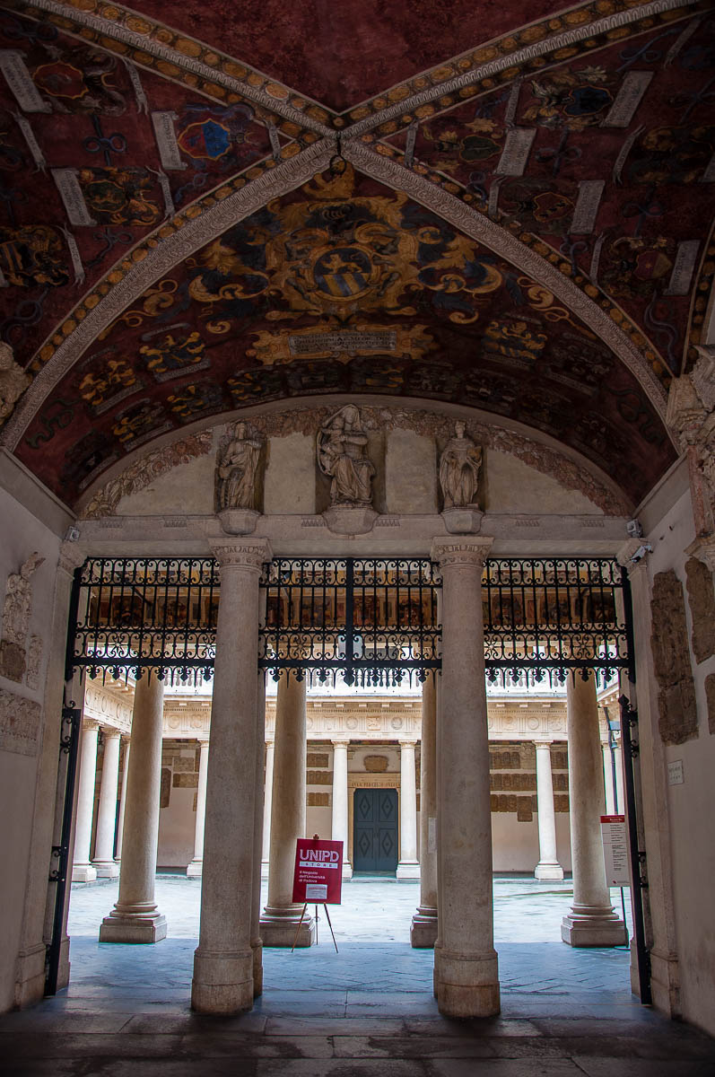 The frescoed and decorated portico of Palazzo Bo - Historic seat of Padua University - Padua, Veneto, Italy - rossiwrites.com