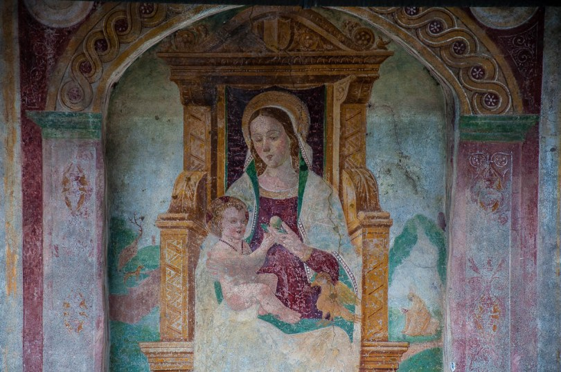 A fresco on the wall of the small church of Nesso - Lake Como, Italy - rossiwrites.com