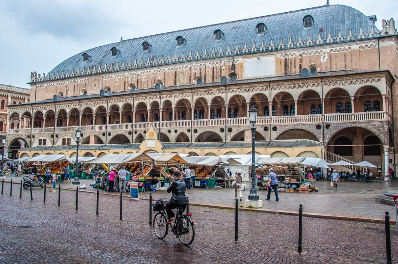 A lady on a bike passing in front of Palazzo della Ragione and the market at Piazza delle Erbe, Padua, Veneto, Italy - rossiwrites.com