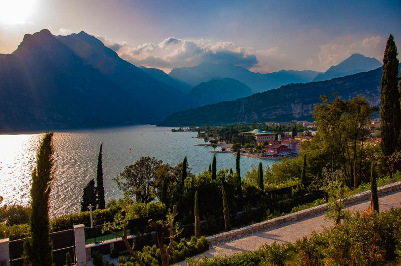 View of Garda Trentino with the town of Torbole on the lakefront - Lake Garda, Trentino, Italy - rossiwrites.com