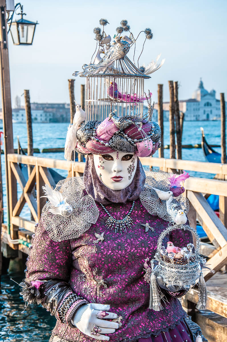 A beautiful mask in purple with a birdcage on her head - Venice, Italy - rossiwrites.com