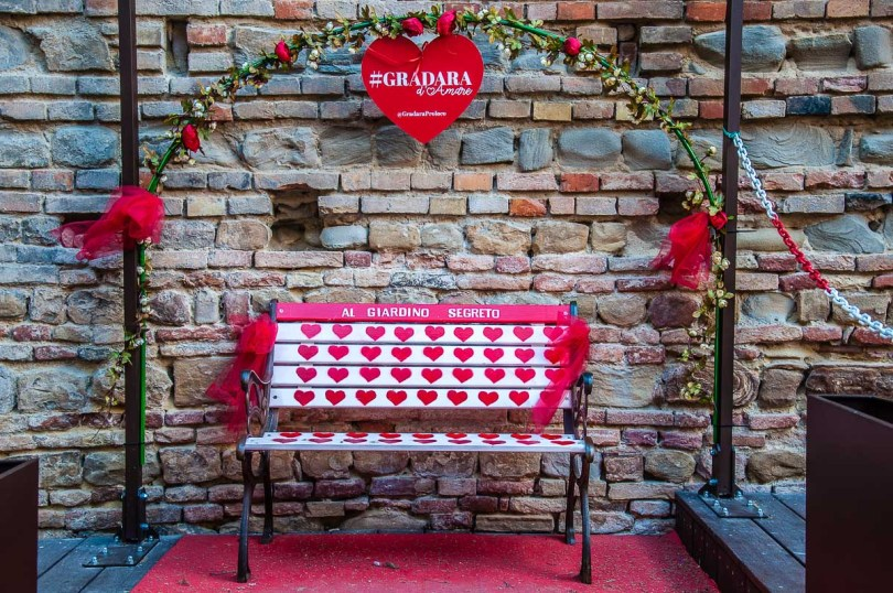 Bench decorated with hearts - Gradara, Italy - rossiwrites.com