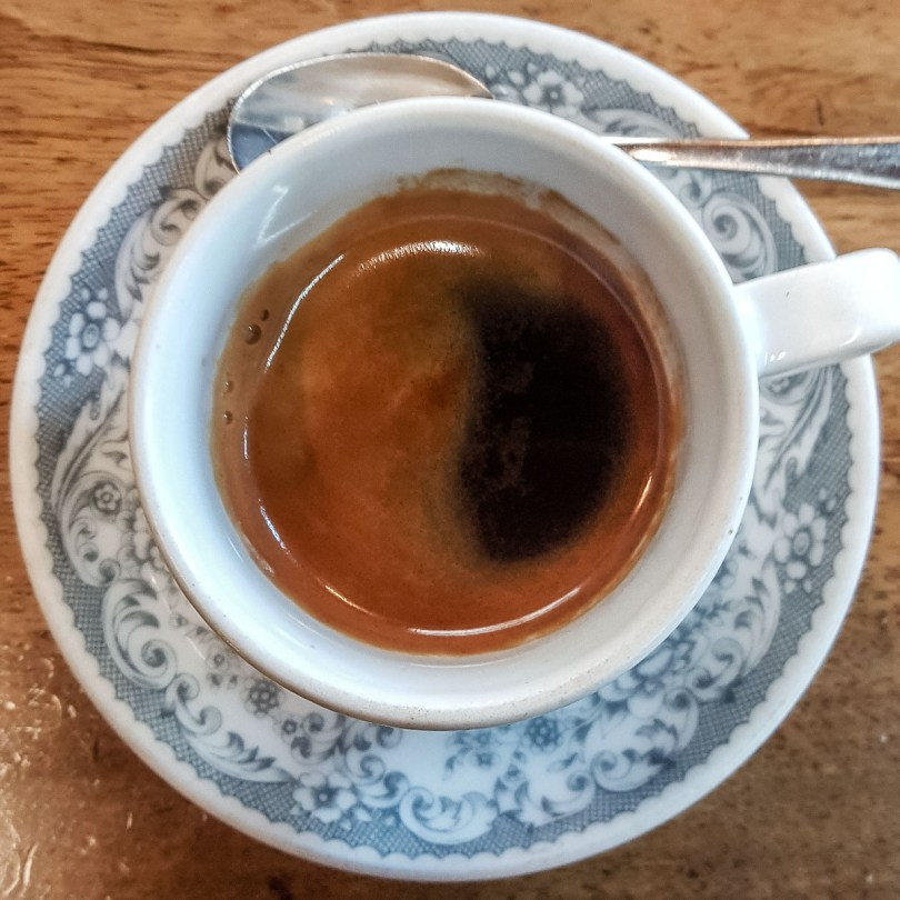 Cup of espresso photographed from above - Vicenza, Italy - rossiwrites.com