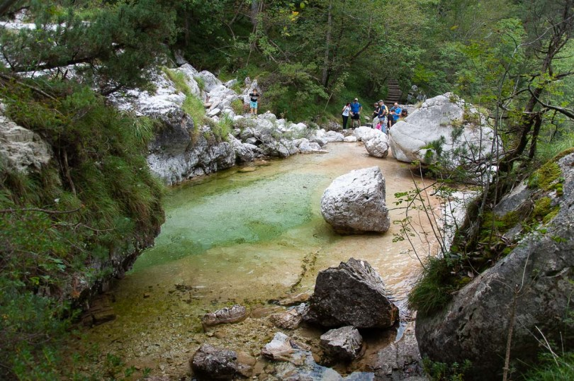People around one of the pools - Cadini del Brenton - Dolomites, Italy - rossiwrites.com